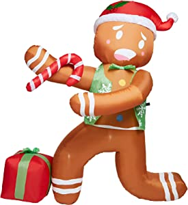PRAISUN 5Ft Christmas Inflatable Yard Decor, Blow Up Lighted Gingerbread Man, Outdoor Indoor Holiday Decorations with LED Lights for Home Lawn