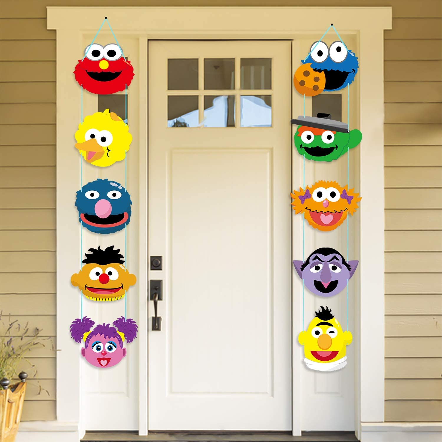 PANTIDE Sesame Party Decorations | Sesame Cutouts Door Sign Porch Sign | Hanging Flags Banners for Outdoor and Indoor Home Wall Decor | Elmo Cookie Monster Big Bird Ernie Oscar Inspired Party Supplies