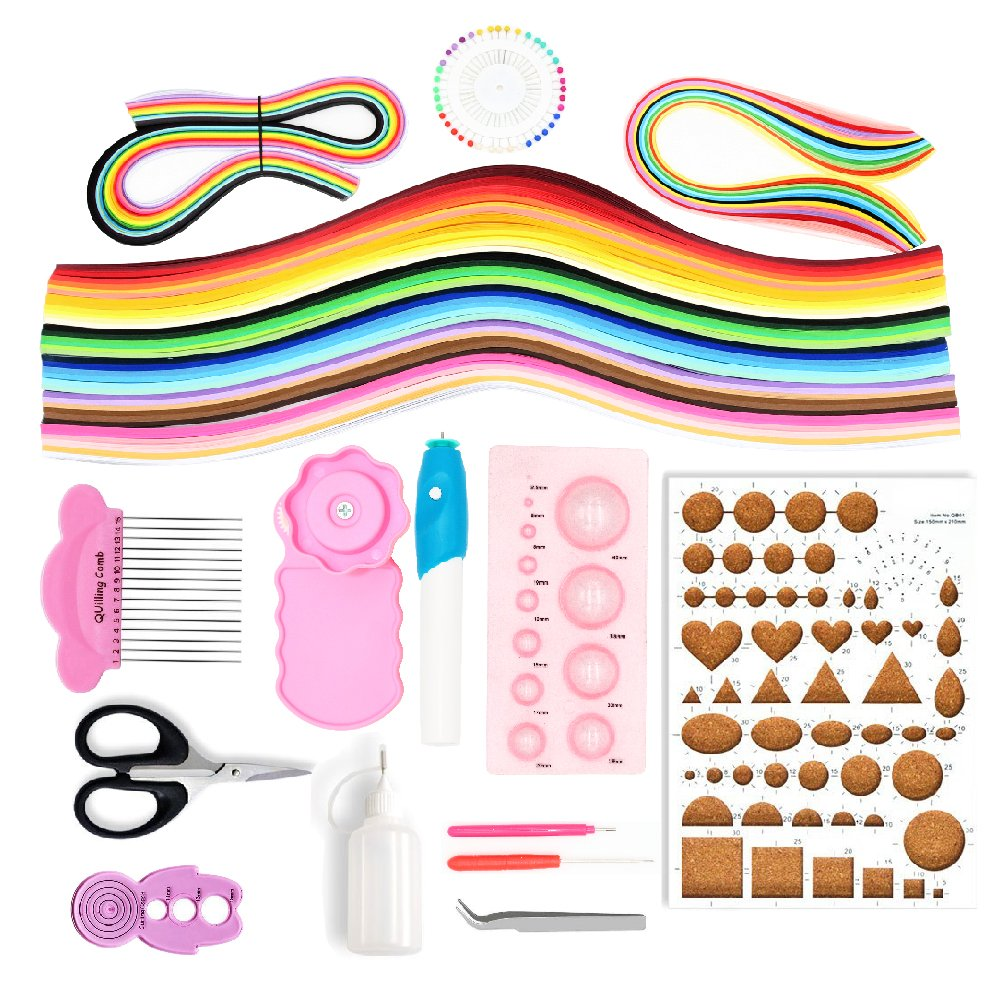 BITEYI Paper Quilling Kits with 36 Colors 960 Strips and 12 Tools,Electric Quilling Pen (Paper Width 3mm)