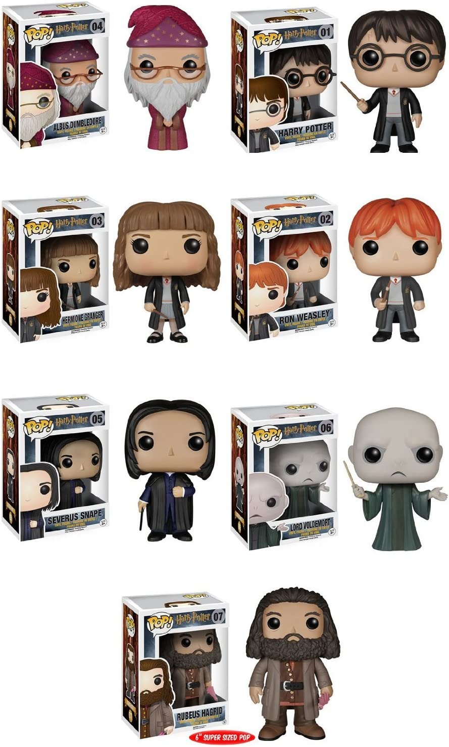 Funko Pops! Complete Set of 7 ~ Harry Potter Voldemort Albus Dumbledore Hermione Granger Ron Weasley Severus Snape and 6 Rubeus Hagrid by