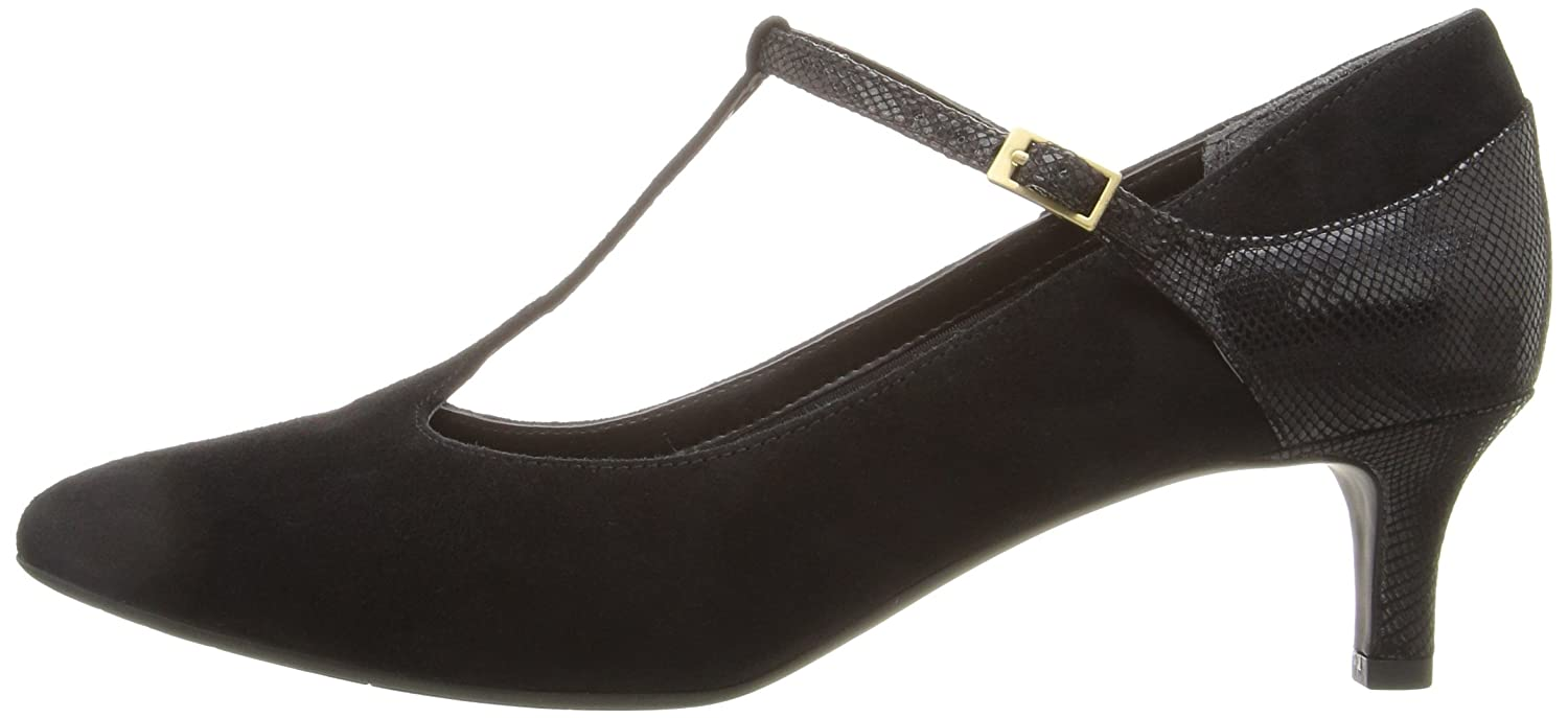 Rockport Women's Total Motion Kalila T-Strap Dress Pump B01ABS1HNE 8 W US|Black Kid Suede