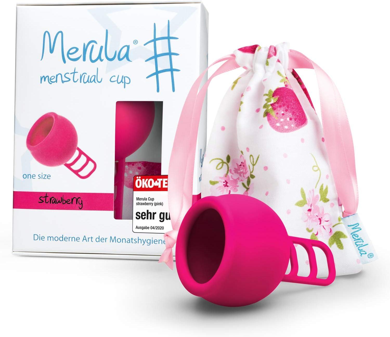 Merula Cup strawberry (rosa) - Tamaño único copa menstrual de silicona de grado médico: Amazon.es: Salud y cuidado personal