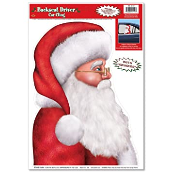 amazon com santa backseat driver car cling party accessory 1 count