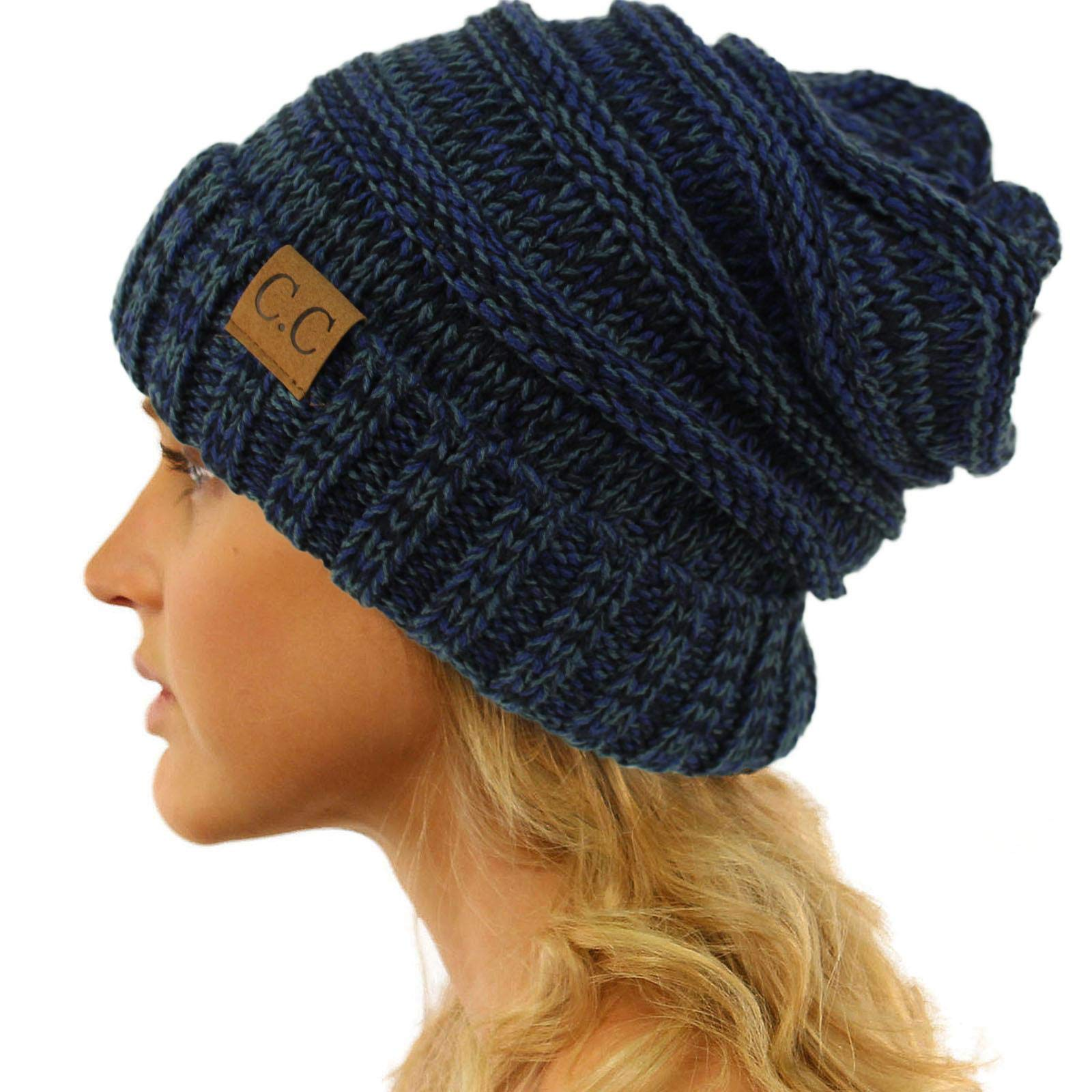 e9a0705d7a2 CC Winter Trendy Warm Oversized Chunky Baggy Stretchy Slouchy Skully Beanie  Hat Mix Navy