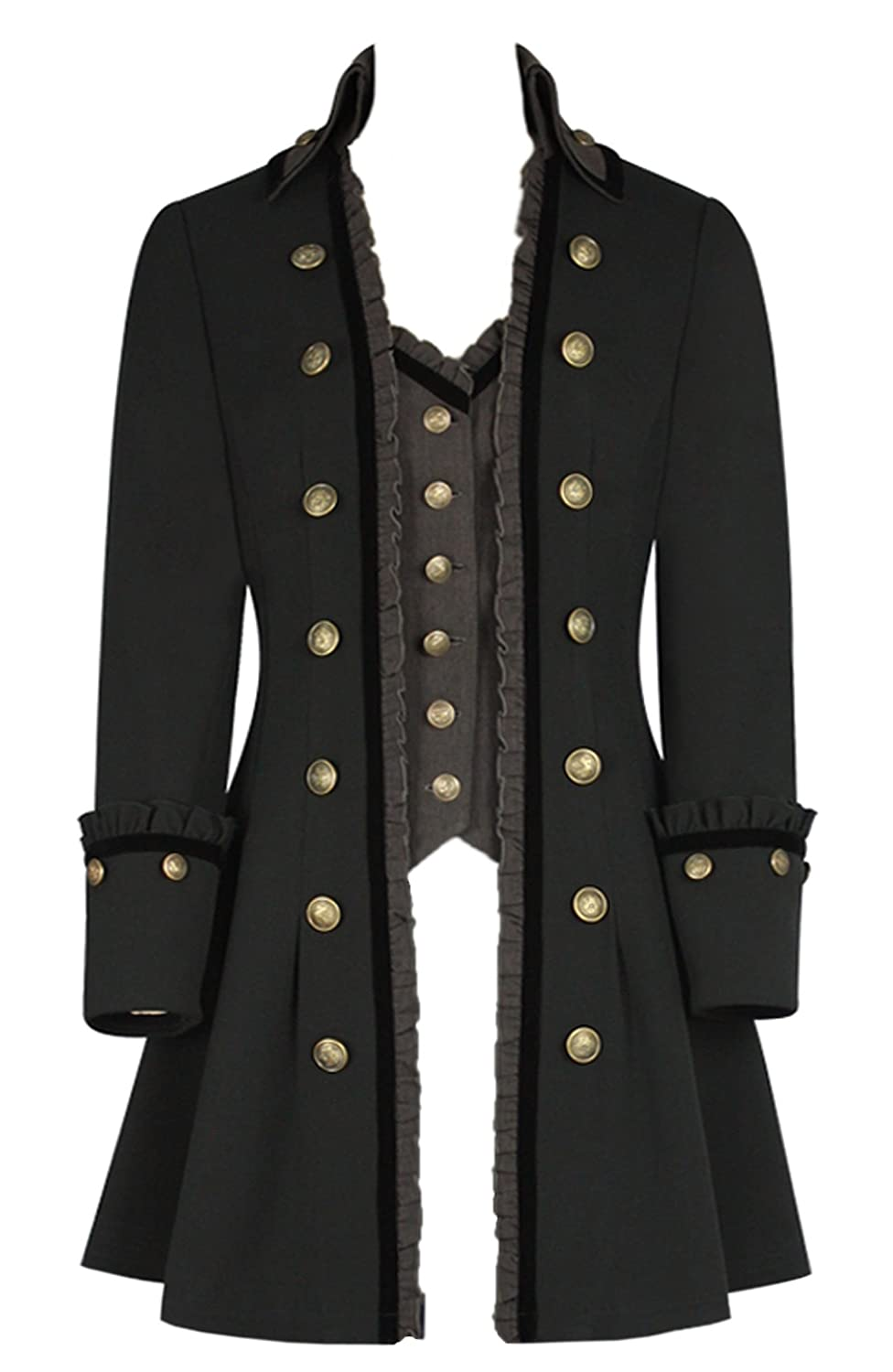 Women's Pirate Cavalier Military Highwayman High Collar Gray & Black Coat with Attached Gray Waistcoat - DeluxeAdultCostumes.com