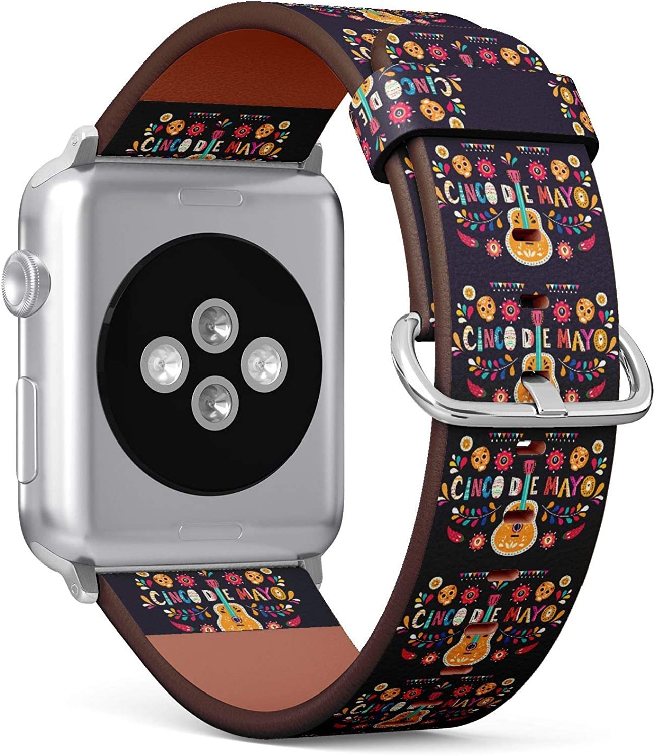 ( Mexican symbols sugar skull, guitar, flowers and red pepper of Cinco De Mayo )Patterned Leather Wristband Strap Compatible with Apple Watch Series 6/5/4/3/2/1 , 38mm / 40mm bands