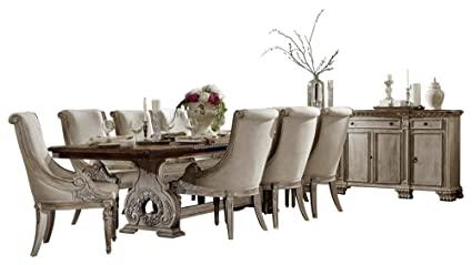 Chambord French Country 10PC Dining Set Table, 8 Chair, Server In Antique  White