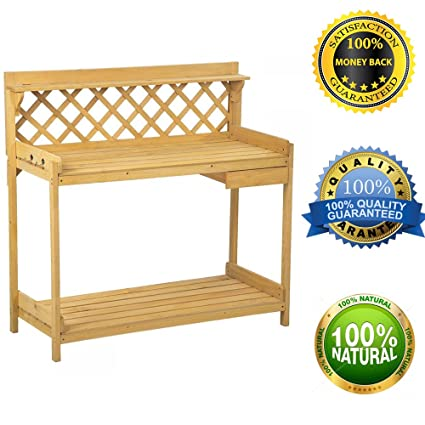 fdw potting bench outdoor garden work bench station planting wood construction - Garden Work Bench