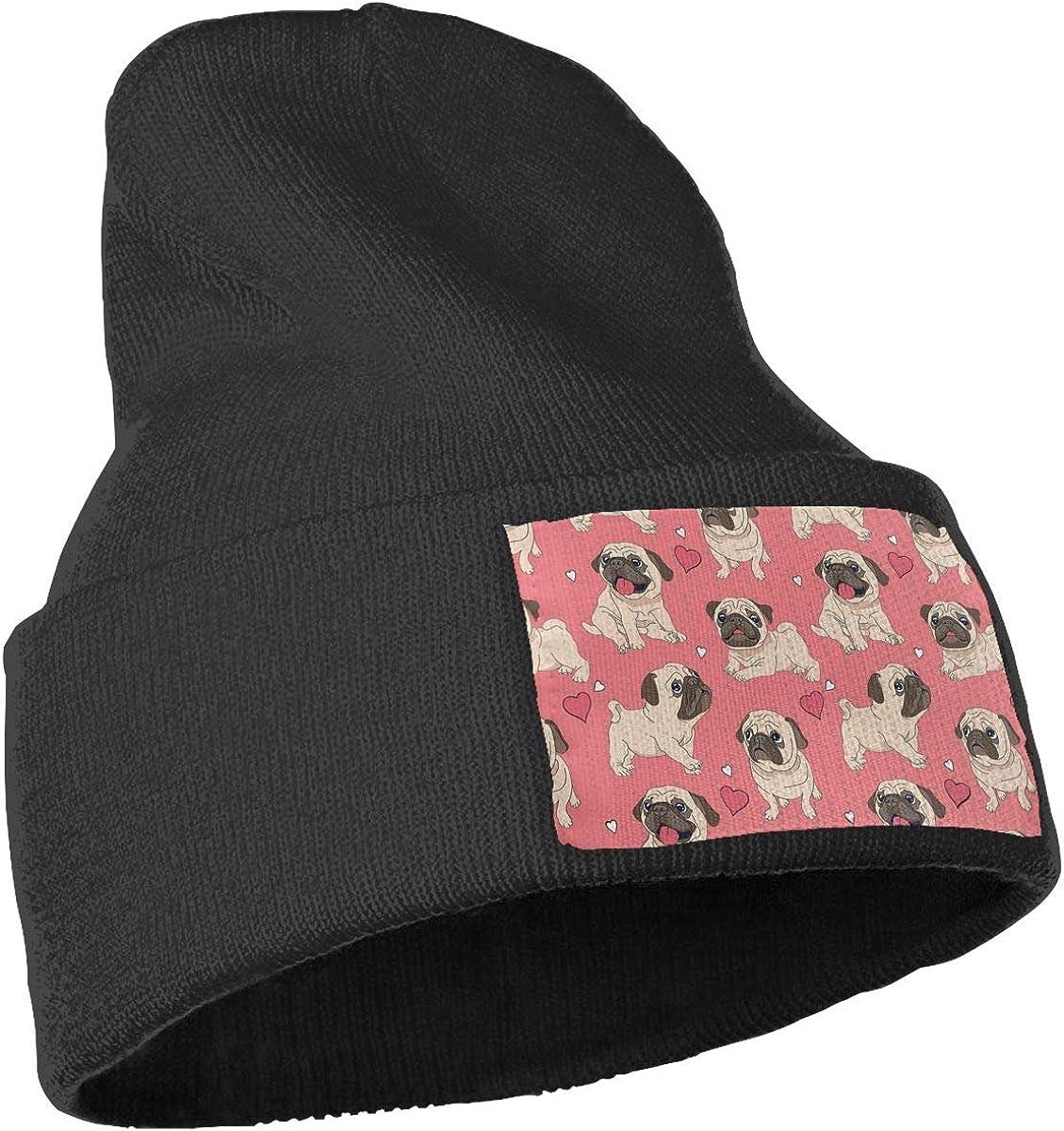PCaag7v Pug Dog Pink Beanie Hat Winter Solid Warm Knit Unisex Ski Skull Cap
