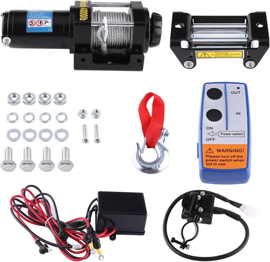 4000lbs Kit di verricello di recupero elettrico ATV rimorchio camion auto 12V DC telecomando Qiilu Auto Verricelli elettrici