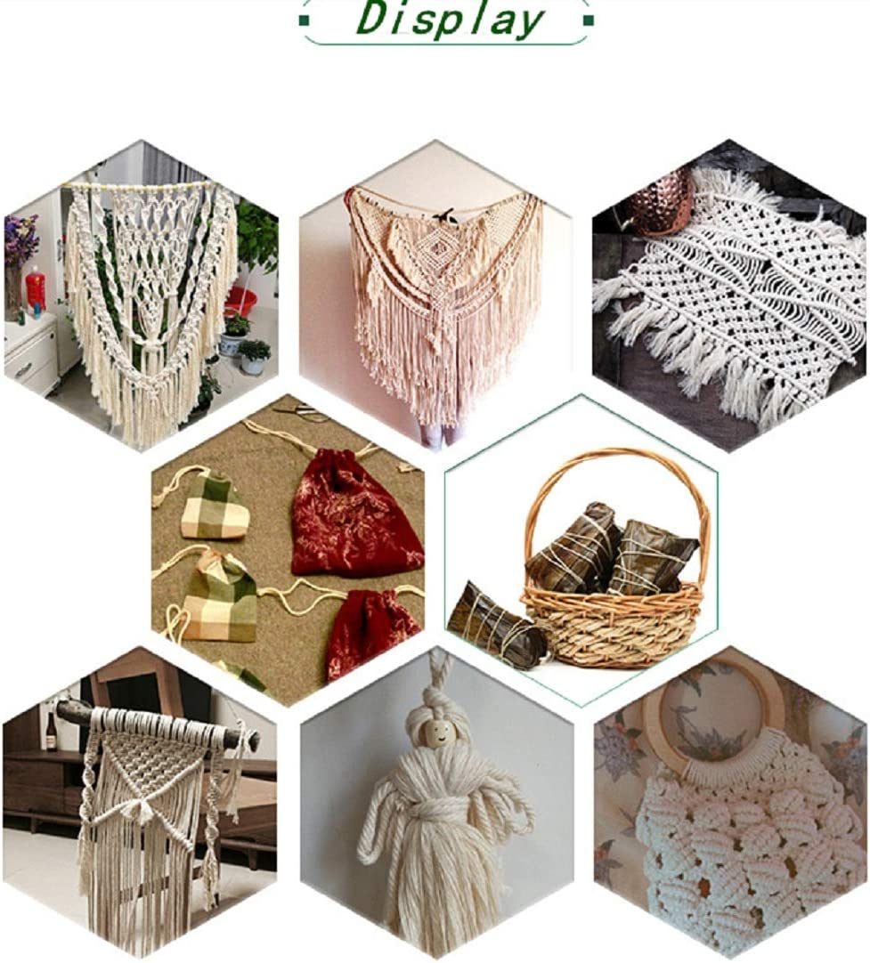 Plant Hangers DIY Crafts Jewelry Making Handmade Decoration Macrame Cord 3mm x 109 Yards 100/% Natural Macrame Rope Bohemia Soft Cotton Rope with 4pcs Wood Ring 50pcs Wooden Beads for Wall Hanging