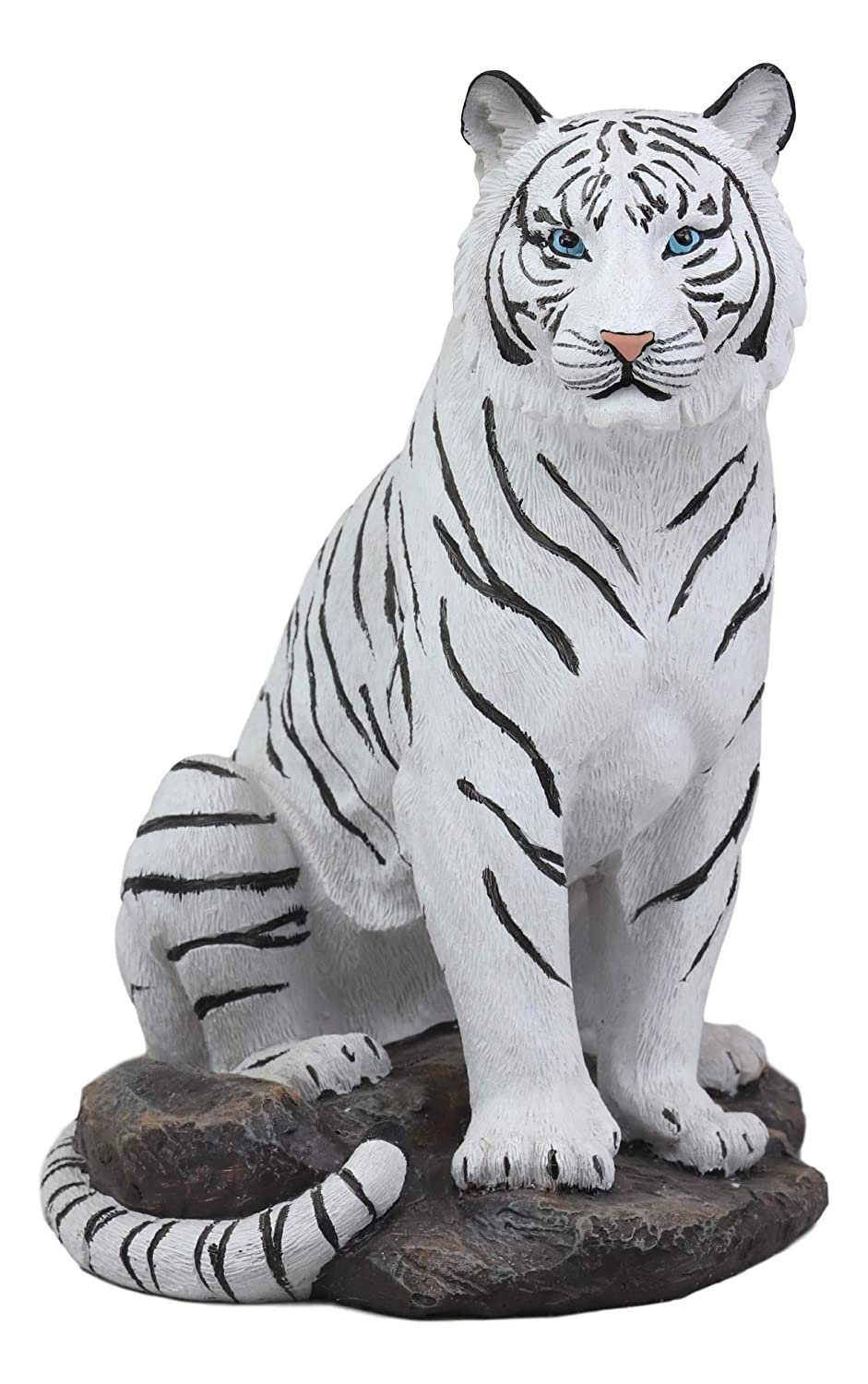 "Large Siberian White Tiger Family On A Rock Statue 13.5/""H Royal Bengal Family"