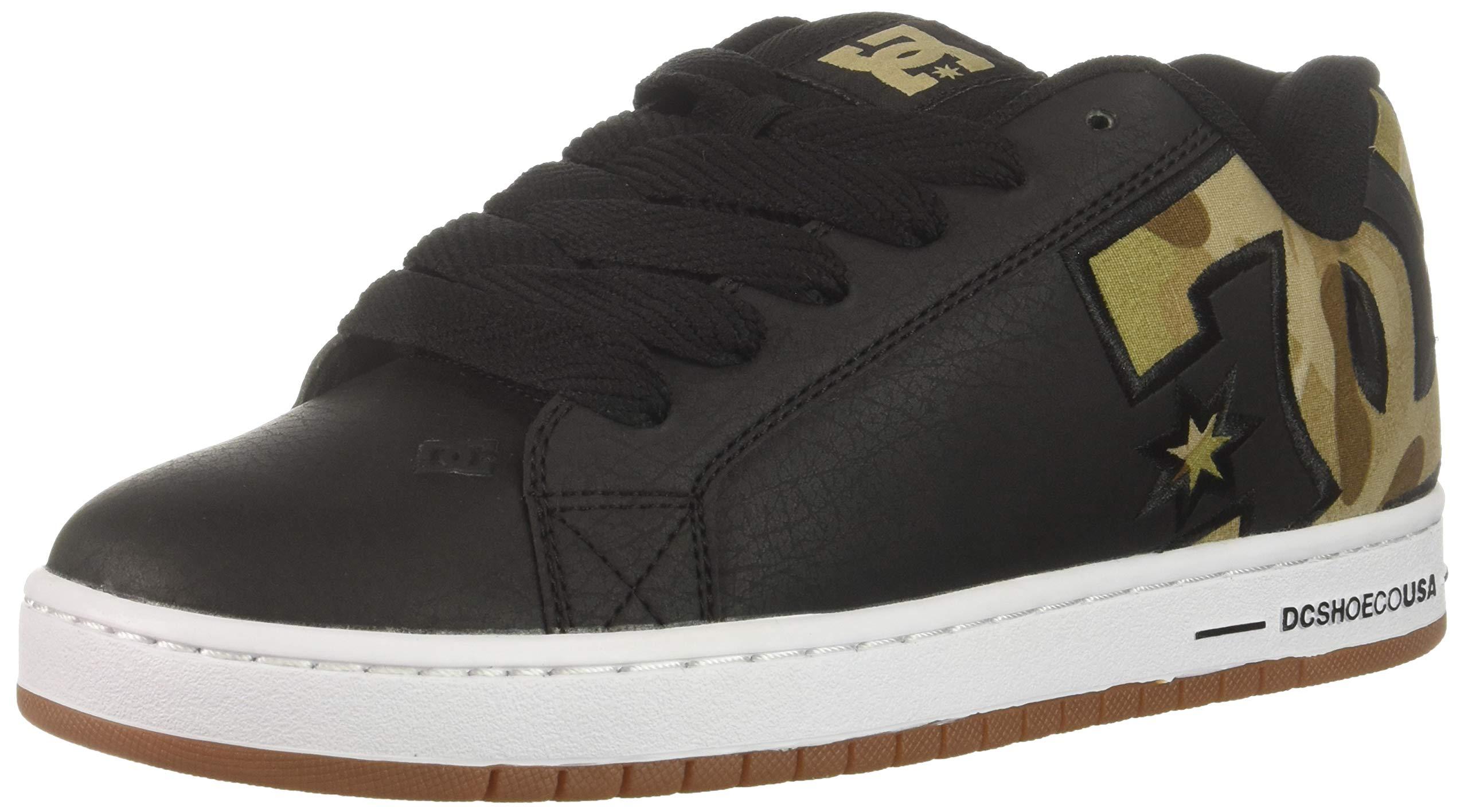 DC Men's Court Graffik Se Skate Shoe, Black/Military camo, 6 D M US