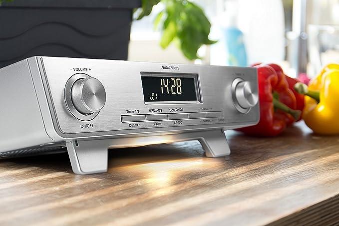 AudioAffairs KR 010 SV FM FM - Fregadero de Radio - Radio de Cocina con LED Luz, Armario de Cocina Radio y Back de Temporizador, Temporizador Plata: ...