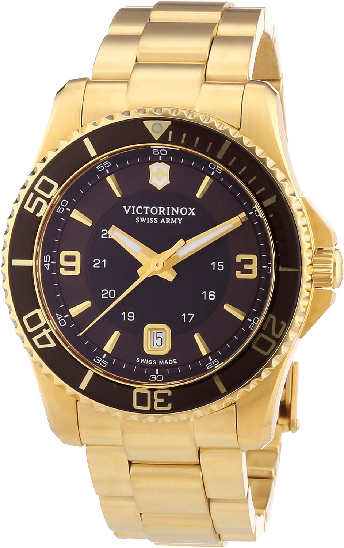 Victorinox Swiss Army Maverick 241607 - Reloj analógico de Cuarzo para Hombre, Correa de Acero Inoxidable Chapado Color Dorado (Agujas luminiscentes)