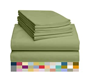 """LuxClub 6 PC Sheet Set Bamboo Sheets Deep Pockets 18"""" Eco Friendly Wrinkle Free Sheets Hypoallergenic Anti-Bacteria Machine Washable Hotel Bedding Silky Soft - Lime Queen"""
