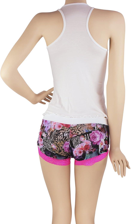 Hipnys Sleepwear CAS01 Sleeveless PJ Sets for Women Tank Top Pajamas & Boyshorts at Amazon Womens Clothing store: