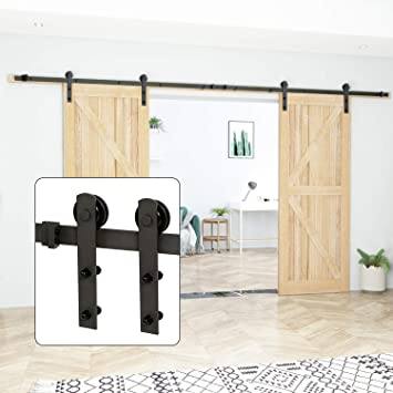 Amazon Com U Max 13 Ft Double Door Sliding Barn Door Hardware Kit Heavy Duty Smoothly And Quietly Simple And Easy To Install Fit 30 36 Wide Doors Panel J Shape Hangers