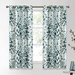 KGORGE Leaves Ink Painting Curtains Room Darkening/Thermal Insulated Grommet Drapes for Bedroom, 52 inches Wide x 63 inch Long Each, 2 Panels, Green-Blue