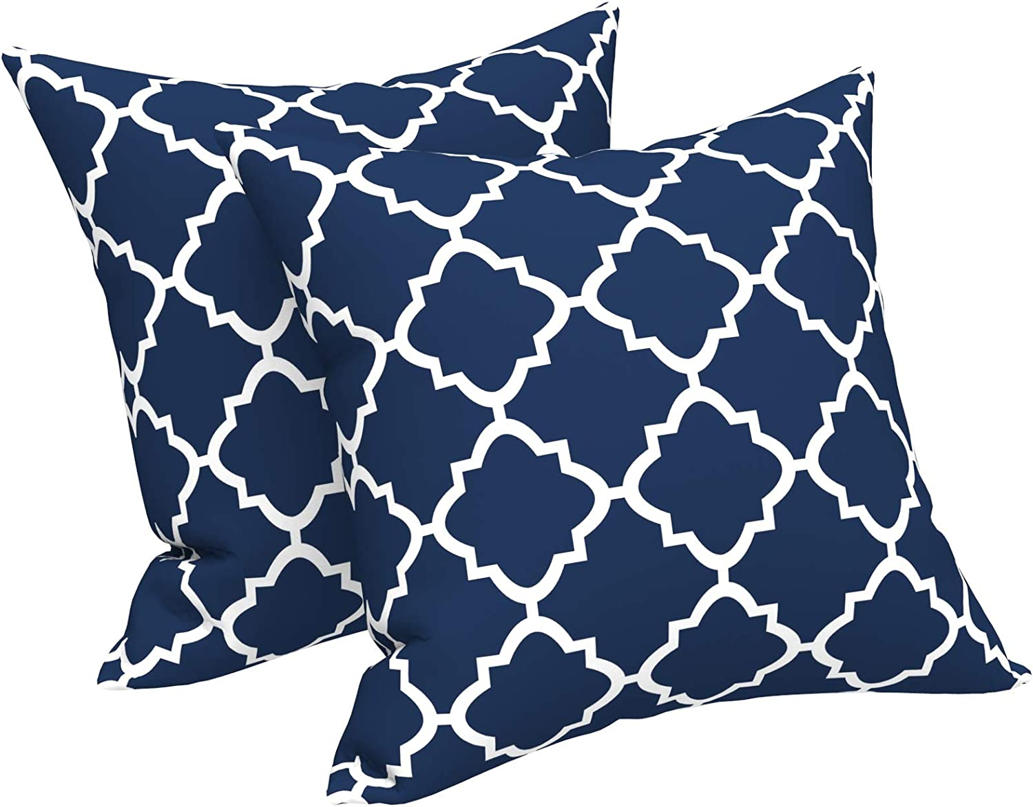 Lvtxiii Indoor Outdoor Pillow Covers All Weather Patio Accent Square Toss Pillow Cushion Case 18 X 18 Pack Of 2 For Sofa Couch Patio Furniture Decoration Navy Geomentry Home Kitchen