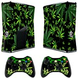 Skins Stickers for Xbox 360 Games Console Decals Xbox 360 Slim Skins Stickers with Two Wireless Controller Decals - Weeds black