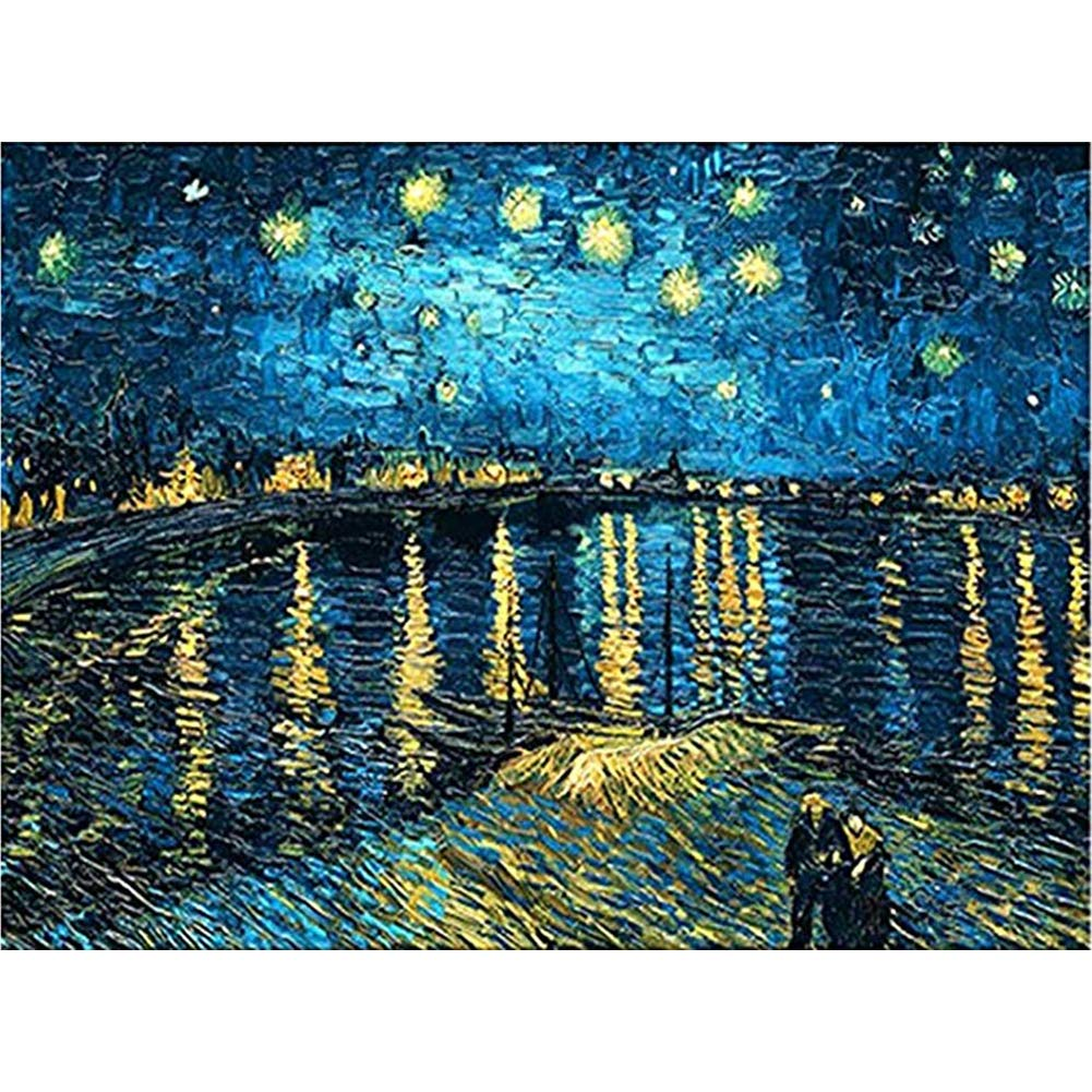 DIY 5D Diamond Painting Kits for Adults Full Drill Embroidery Paintings Rhinestone Pasted DIY Van Gogh Painting Cross Stitch Arts Crafts for Home Wall Decor 40x50cm/15.7x19.6Inches(Star Night)