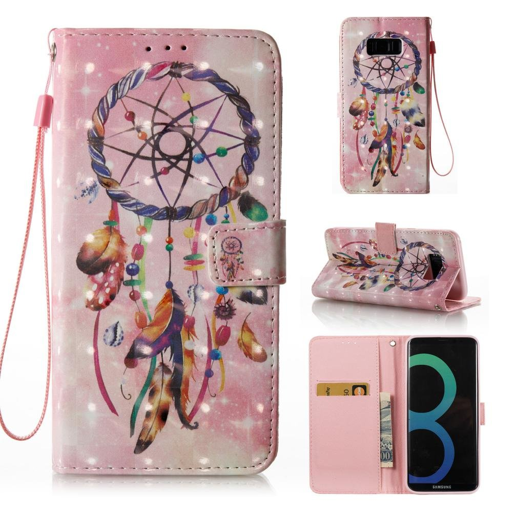 Galaxy S8 Plus case, PU Leather Shock Proof bumper Case stand Book Case Magnetic Card Holder with strap birthday Xmas gift for samsung s8 plus-dream catcher