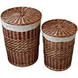 Kingwillow,Laundry Storage Baskets with Lid Hamper Handmade Woven Wicker&cattail Round Closet Organizer (Set of 2, Brown)