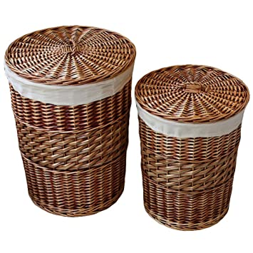 Perfect Kingwillow,Laundry Storage Baskets With Lid Hamper Handmade Woven  Wickeru0026cattail Round Closet Organizer (Set