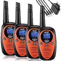 Mksutary Talkie Walkie Rechargeable, Talkie-walkie Enfant Rechargeable Longue Portée 3KM 8 Canaux Radio Transmetteur Bi-directionnel Auto Scan Longue Autonomie Chargeur Fourni (Orange,Pack de 4)