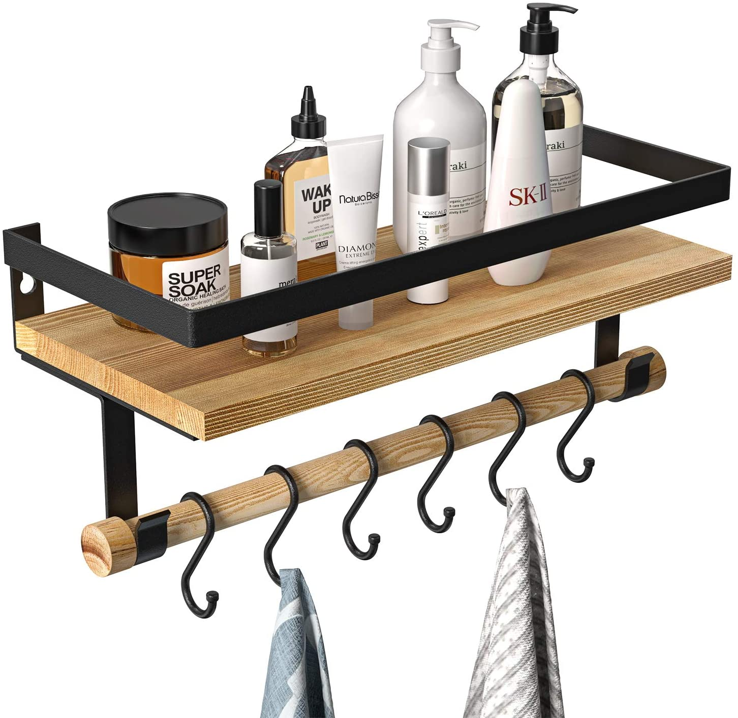 Floating Shelf with Removable Towel Bar and 6 Hooks, Rustic Wood Wall Mounted Storage Shelf, Coffee Bar Decor, for Bathroom, Kitchen,Living Room, Bedroom by AMADA HOMEFURNISHING AMFS09