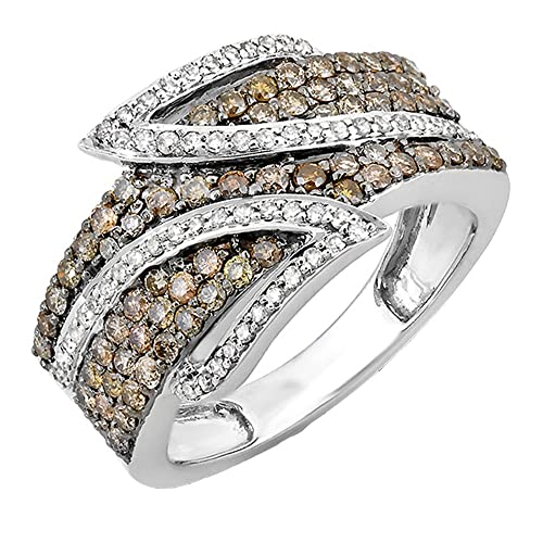 1.26 Carat (ctw) 10k White Gold White & Champagne Round Diamond Ladies Cocktail Ring 1 1/4 CT