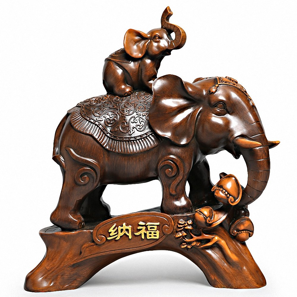 Large Size Rosewood Color Feng Shui Mother and Baby Elephant Wealth Lucky Statue/Figurine + Free Set of 10 Lucky Charm Ancient Coins on Red String,Home Decor Gift