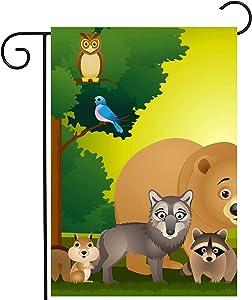 ShineSnow Forest Africa Wild Animal Zoo Cartoon Owl Tree Bird Bear Wolf Garden Yard Flag 12