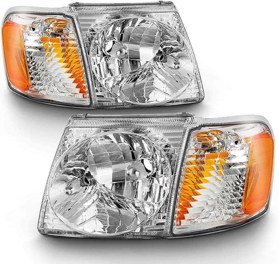 ACANII - For 2001-2005 Ford Explorer Sport Trac Headlights Headlamps w/Corner Lights Signal Lamp 4PC Driver & Passenger