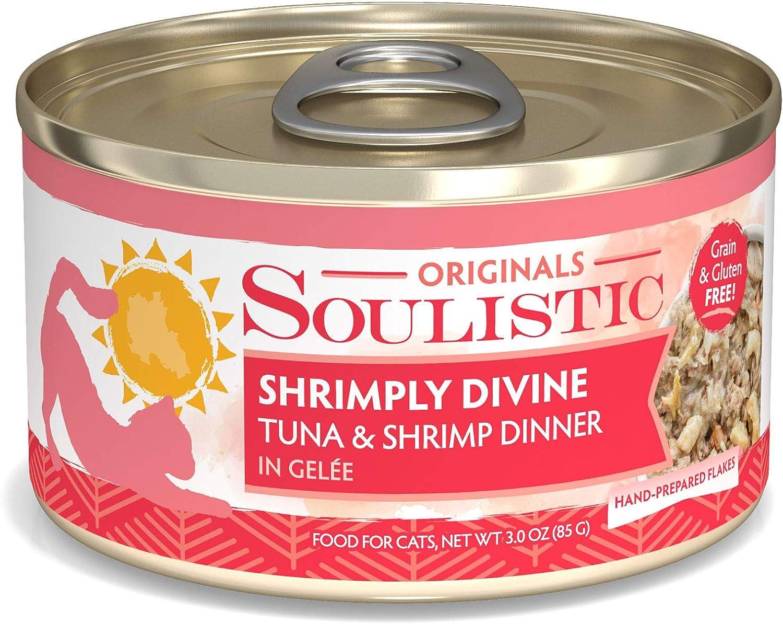 Soulistic Originals Shrimply Divine Tuna & Shrimp Dinner in Gelee Wet Cat Food, 3 oz., Case of 12, 12 X 3 OZ