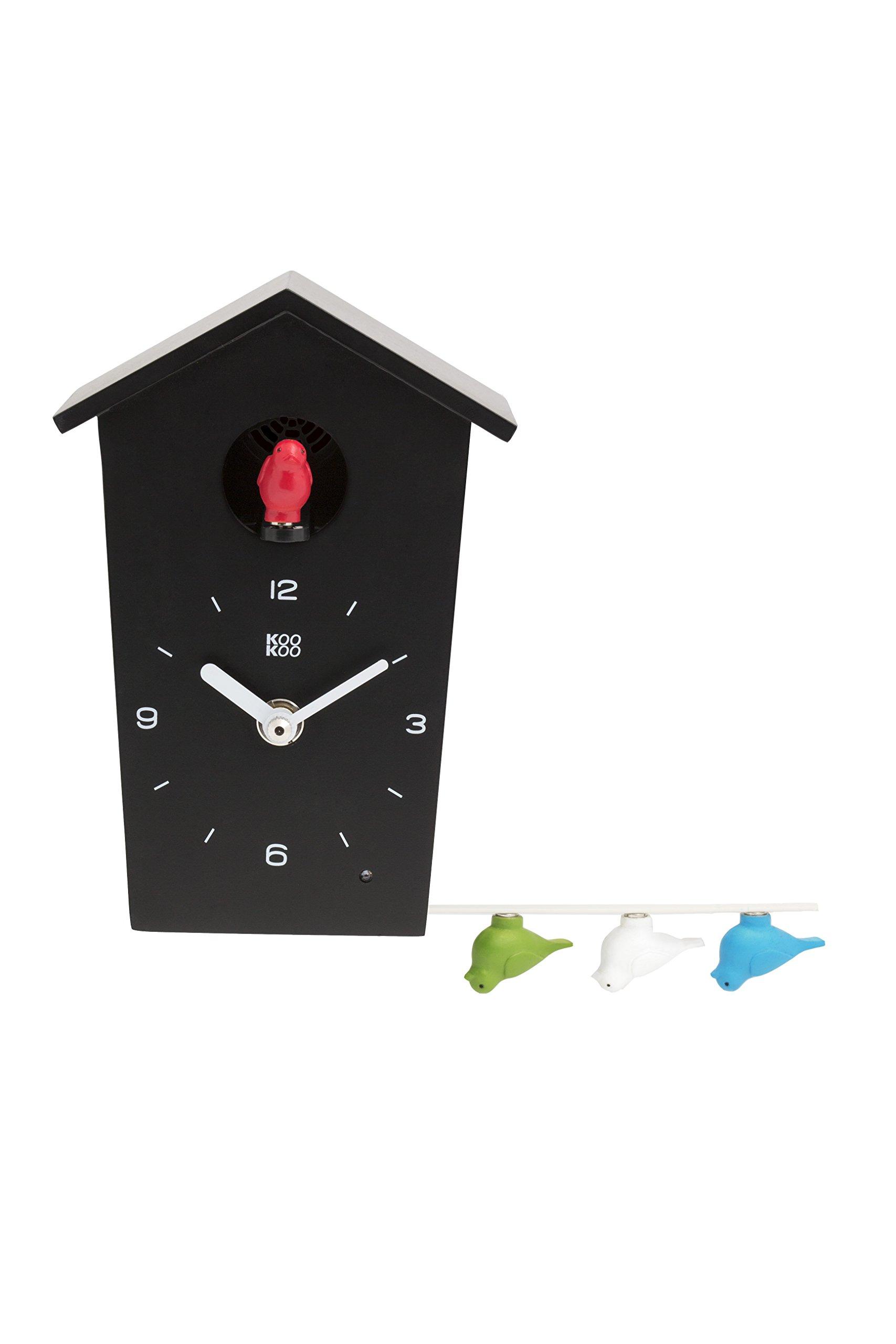 KOOKOO Birdhouse Mini Black Wall Clock 12 Natural Bird Voices Field Recordings Cuckoo Small Cuckoo Clock Modern Design Songbird Clock