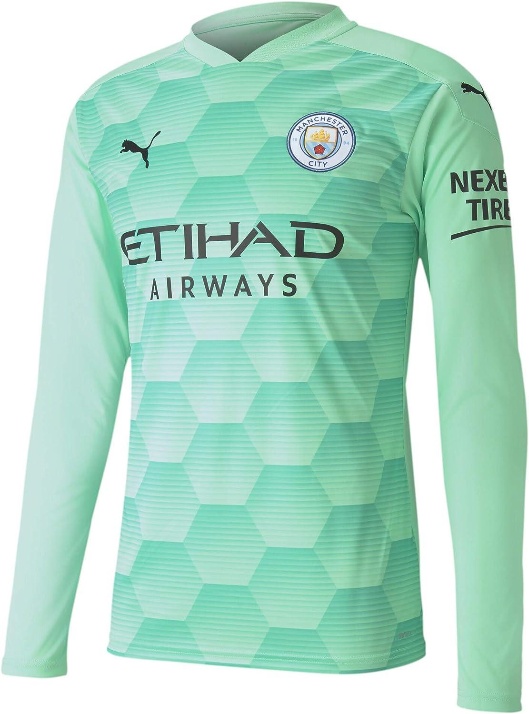 PUMA 2020-2021 Manchester City Home Goalkeeper Football Soccer T-Shirt Jersey (Green
