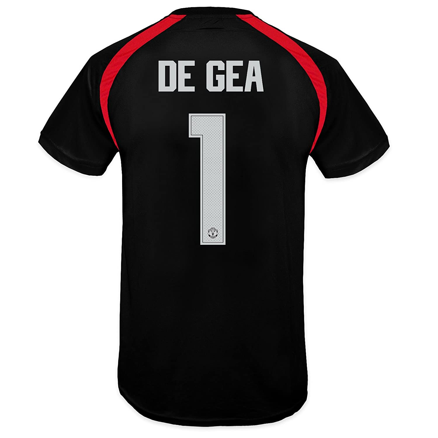 5f067e492 Amazon.com  Manchester United FC Boys De Gea 1 Poly Training Kit T-Shirt  Black 12-13 Years  Clothing