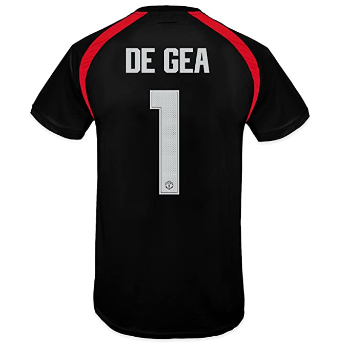 info for 0fc40 a5f7f Manchester United FC Boys De Gea 1 Poly Training Kit T-Shirt Black 10-11  Years
