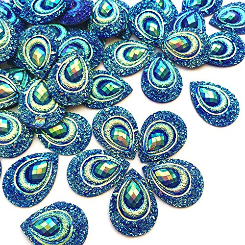 Sparkly Buttons Drop AB Color Sew On Crafts Rhinestones Flatback Beads Sewing For Costume Wedding Dress Decorations 18x25mm 50pcs (Blue)