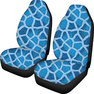 INSTANTARTS 2 Piece Giraffe Blue Print Car Seat Covers Protector Vehicle Cars SUV Seats Cover: Automotive