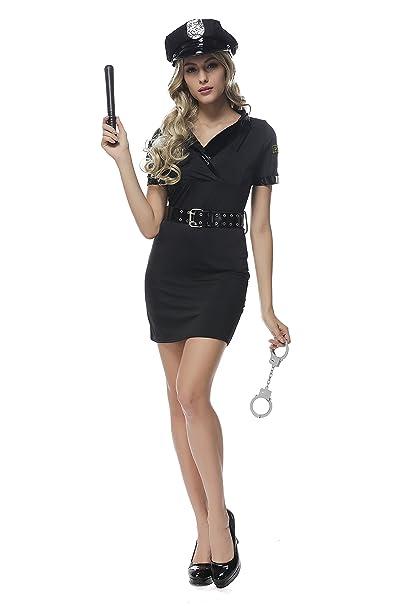 Las mujeres de estilo policía de manga corta negro lápiz vestido para disfraz fiesta