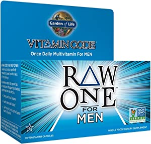 Garden of Life Multivitamin for Men - Vitamin Code Raw One Whole Food Vitamin Supplement with Probiotics, Vegetarian, 30 Capsules