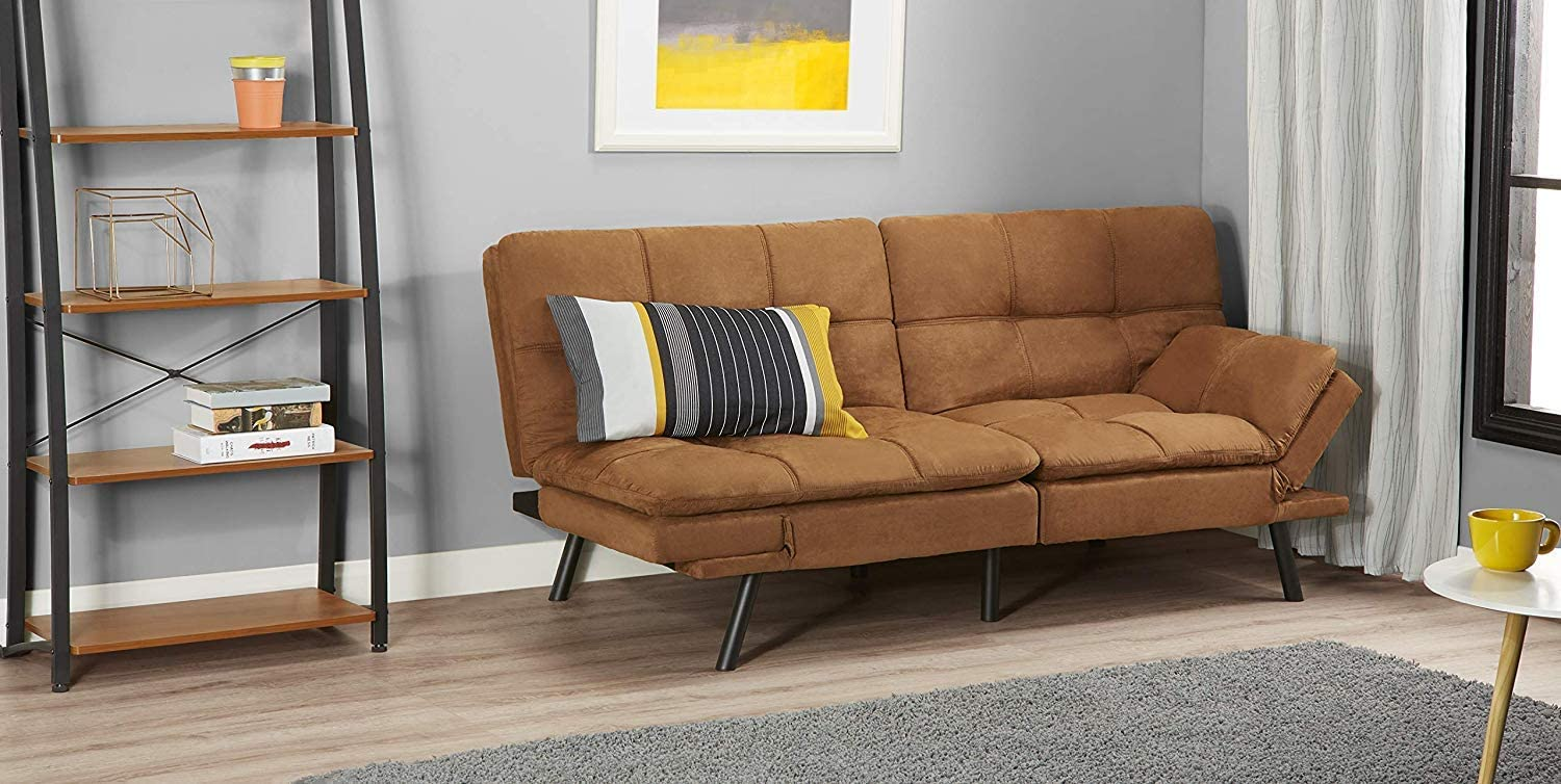 Memory Foam Futon Sofa Converts to Sleeper Bed Soft Suede Fabric Camel Color