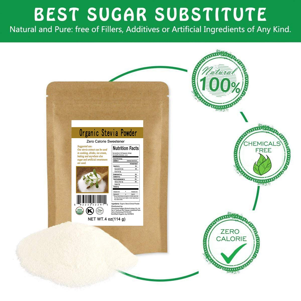 CCnature Organic Stevia Powder Extract Natural Sweetener Zero Calorie Sugar Substitute 4oz by CCnature (Image #2)