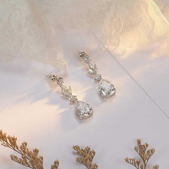 demoiselles dhonneur mari/ées boucles doreilles en cristal strass en forme de goutte boucles doreilles or rose Boucles doreilles SWEETV mariage mari/ée zircon cubique pour femmes