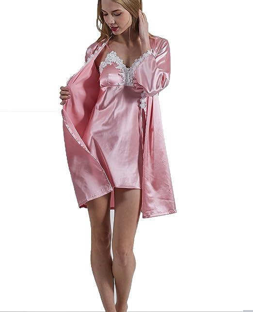 SWOMOG Womens Lightweight Kimono Bridesmaids Sleepwear 2 Piece Nightgown  and Robe Set 2f905060d986