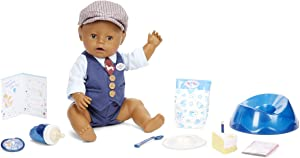Baby Born Interactive Boy Baby Doll Party Theme – Brown Eyes with 9 Ways to Nurture, Multicolored