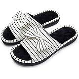 PENNYSUE Women's Open Toe Slippers Slip-on House Shoes Memory Foam Non-Slip Sole Indoor Outdoor